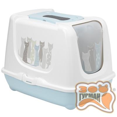 купити Moderna Trendy Cat Maasai МОДЕРНА тренд КЕТ закритий туалет для котів c вугільним фільтром і совком, блакитний, дизайн Масаї в Одеси