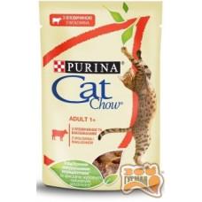 Cat Chow Adult нежные кусочки в желе с говядиной и баклажанами
