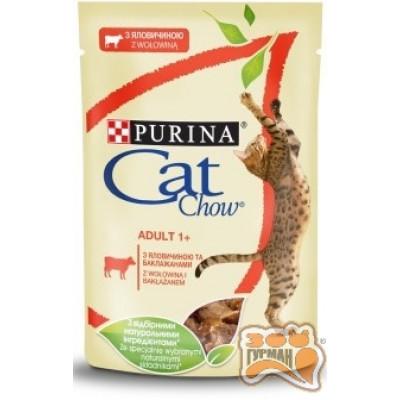 купити Cat Chow Adult нежные кусочки в желе с говядиной и баклажанами в Одеси